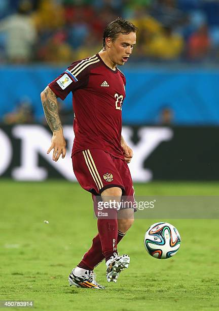 Andrey Yeshchenko of Russia controls the ball during the 2014 FIFA World Cup Brazil Group H match between Russia and South Korea at Arena Pantanal on...