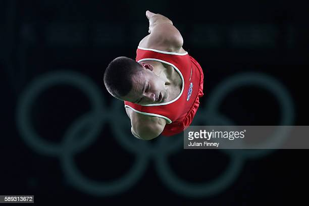 Andrey Yudin of Russia performs during the Mens Trampoline on Day 8 of the Rio 2016 Olympic Games at the Rio Olympic Arena on August 13 2016 in Rio...