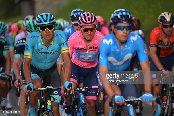 Andrey Zeits of Kazahkstan and Astana Pro Team / Richard Carapaz of Ecuador and Movistar Team Pink Leader Jersey / during the 102nd Giro d'Italia...