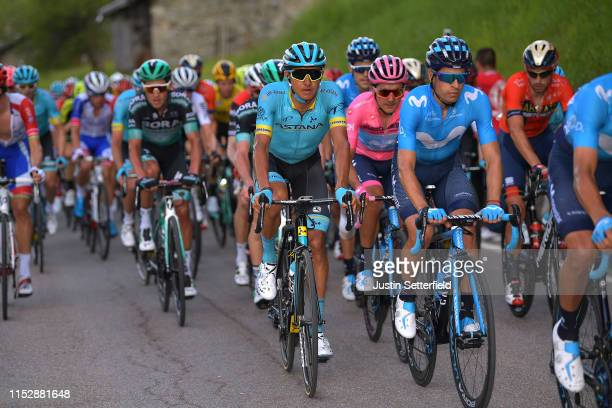 Andrey Zeits of Kazahkstan and Astana Pro Team / Richard Carapaz of Ecuador and Movistar Team Pink Leader Jersey / Mikel Landa Meana of Spain and...