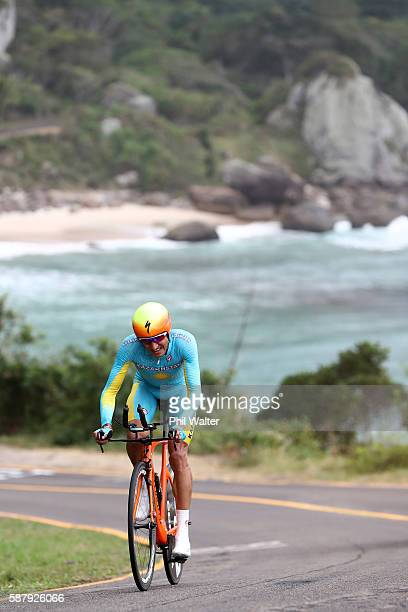 Andrey Zeits of Kazakhstan competes in the Cycling Road Men's Individual Time Trial on Day 5 of the Rio 2016 Olympic Games at Pontal on August 10...