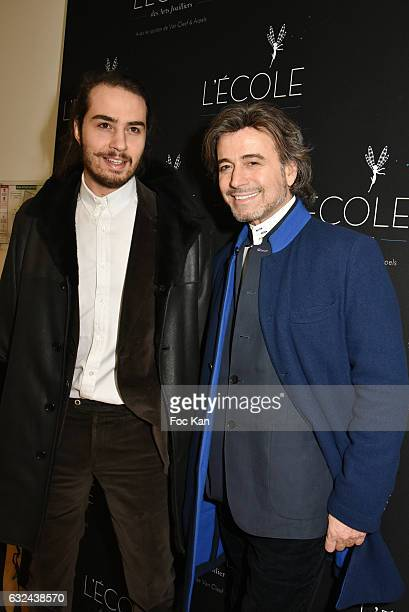 Andrey Zouari and his father Alexandre Zouari attend Retour 'D'Expedition' Harumi Klossowska de Rola Exhibition With Support Of Van Cleef Arpels At...