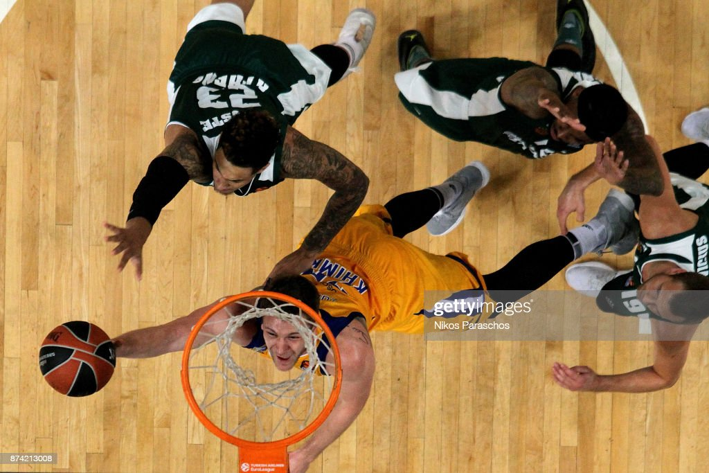 Andrey Zubkov, #20 of Khimki Moscow Region in action during the 2017/2018 Turkish Airlines EuroLeague Regular Season Round 7 game between Panathinaikos Superfoods Athens and Khimki Moscow Region at Olympic Sports Center Athens on November 14, 2017 in Athens, Greece.