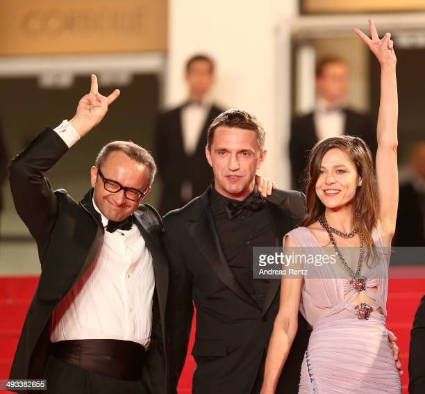 Andrey Zvyagintsev Vladimir Vdovichenkov and Yelena Lyadova attend the 'Leviathan' premiere during the 67th Annual Cannes Film Festival on May 23...