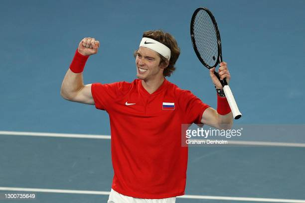 AndreyRublev of Russia celebrates match point in his singles final match against FabioFognini of Italy during day six of the 2021 ATP Cup at Rod...