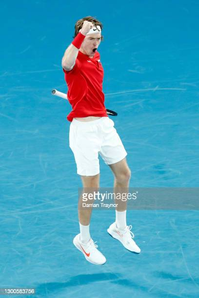 AndreyRublev of Russia celebrates setting up match point during his semi-final singles match againstJan-LennardStruff of Germany on day five of...