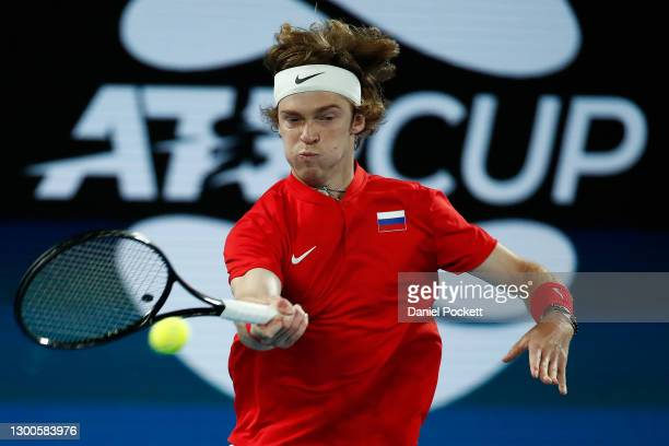AndreyRublev of Russiaplays a forehand during his semi-final singles match againstJan-LennardStruff of Germany on day five of the 2021 ATP Cup at...