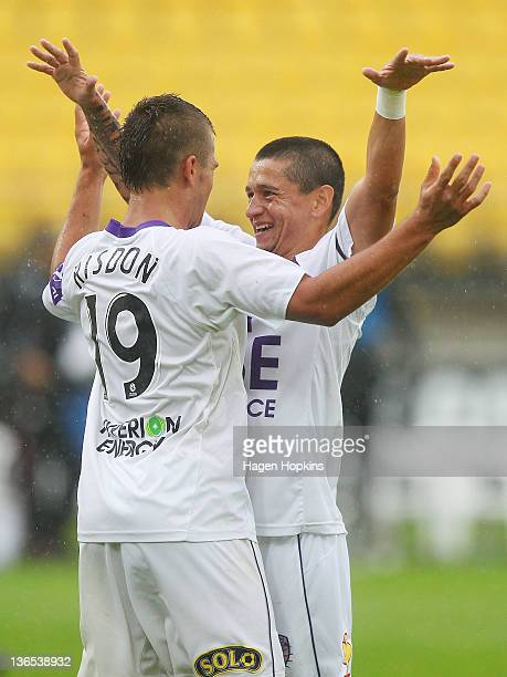Andrezinho and Joshua Ridson of the Glory celebrate at the final whistle during the round 14 ALeague match between Wellington Phoenix and Perth Glory...
