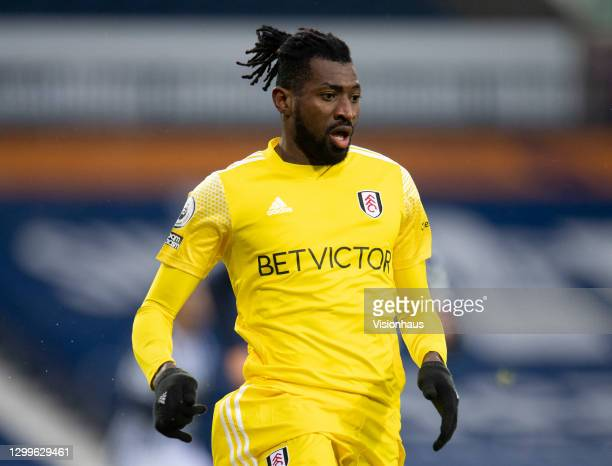 André-Frank Zambo Anguissa of Fulham during the Premier League match between West Bromwich Albion and Fulham at The Hawthorns on January 30, 2021 in...