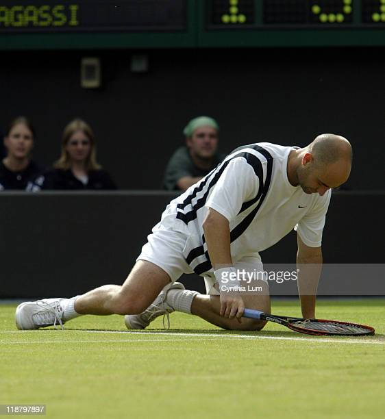 Andri Agassi out of the Wimbledon Championships with 5 set loss to Mark Philippoussis 63 26 67 63 64