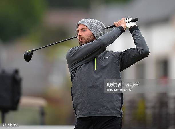 Andri Bjornsson of Iceland plays his first shot on the 1st tee during The Amateur Championship 2015 - Day Four at Carnoustie Golf Club on June 18,...