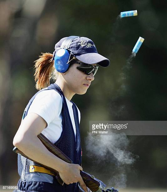 Andri Eleftheriou of Cyprus ejects her used cartridges in the final of the Womens Skeet Clay Target Shooting on Day Nine of the Commonwealth Games at...
