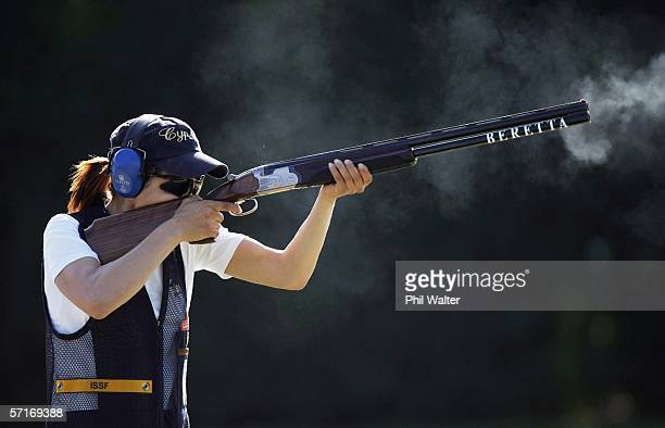 Andri Eleftheriou of Cyprus shoots during her qualification round in the Womens Skeet Clay Target Shooting on Day Nine of the Commonwealth Games at...