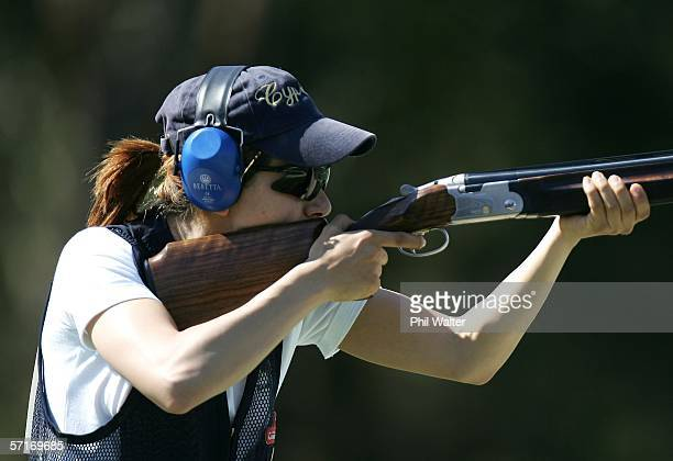 Andri Eleftheriou of Cyprus shoots during the final of the Womens Skeet Clay Target Shooting on Day Nine of the Commonwealth Games at the Melbourne...