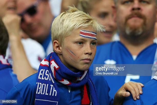 Andri Lucas Gudjohnsen son of Eider Gudjohnsen of Iceland looks on during the UEFA Euro 2016 Quarter Final match between France and Iceland at Stade...