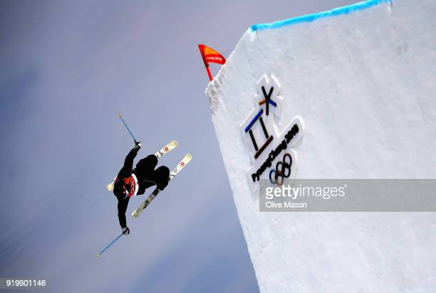 Andri Ragettli of Switzerland in action during the Freestyle Skiing Men's slopestyle Aerial final on day nine of the PyeongChang 2018 Winter Olympic...
