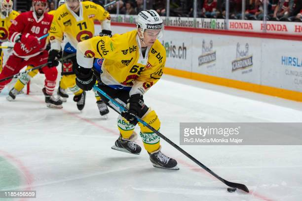 Andri Spiller of SC Bern in action during the Swiss National League game between Lausanne HC and SC Bern at Vaudoise Arena on November 1, 2019 in...