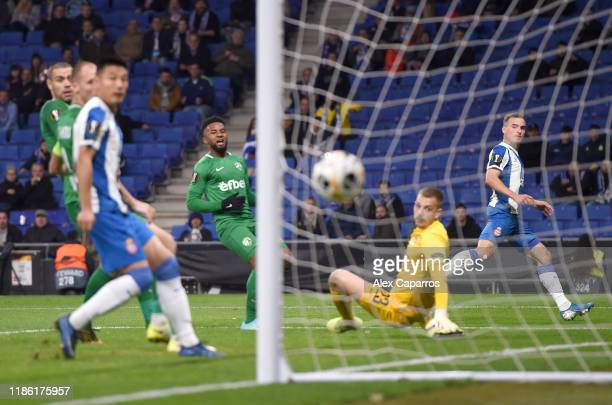 Andria Pedrosa of Espanyol scores his team's fifth goal during the UEFA Europa League group H match between Espanyol Barcelona and PFC Ludogorets...