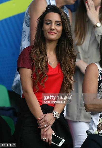 Andriani Michael girlfriend of Jack Wilshere looks on during the UEFA Euro 2016 Group B match between Slovakia and England at Stade GeoffroyGuichard...