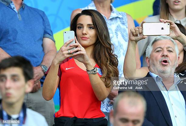 Andriani Michael the girlfriend of Jack Wilshere of England takes a photo during the UEFA EURO 2016 Group B match between Slovakia v England at Stade...