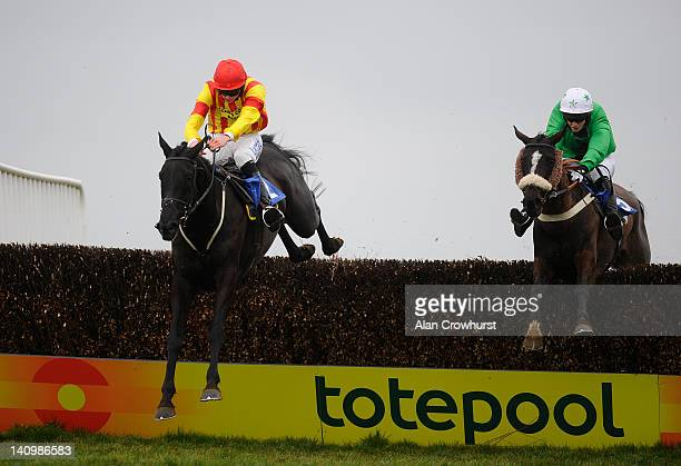 Andrias Guerin riding Hobb's Dream clear the last to win The Grolsch Handicap Steeple Chase from William TwistonDavies riding Kilvergan Boy at...