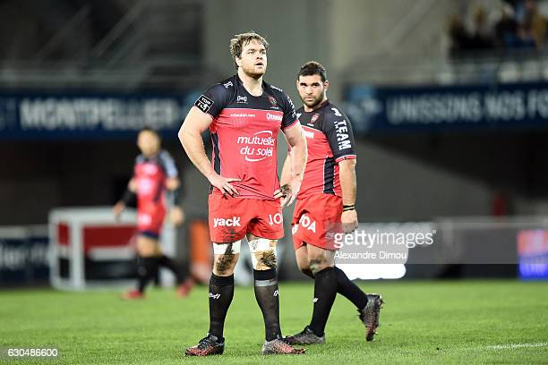 Andries Ferreira and Florian Fresia of Toulon during the Top 14 match between Montpellier and RC Toulon on December 23 2016 in Montpellier France