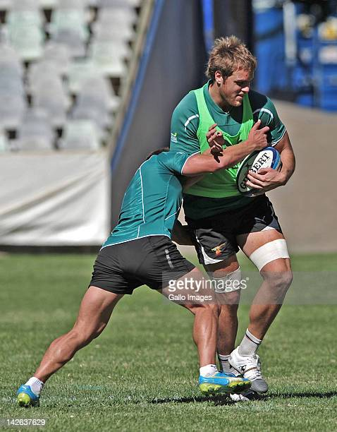 Andries Ferreira during the Toyota Cheetahs training session at Free State Stadium on April 10 2012 in Bloemfontein South Africa