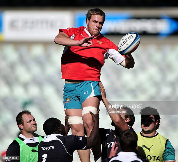 Andries Ferreira in action during the Toyota Cheetahs training session at Free State Stadium on July 11 2012 in Bloemfontein South Africa