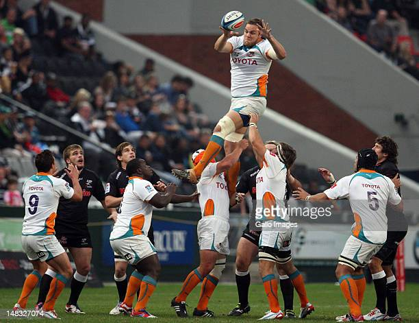 Andries Ferreira of the Cheetahs jumps in the lineout during the Super Rugby match between the Sharks and Toyota Cheetahs at Mr Price Kings Park on...