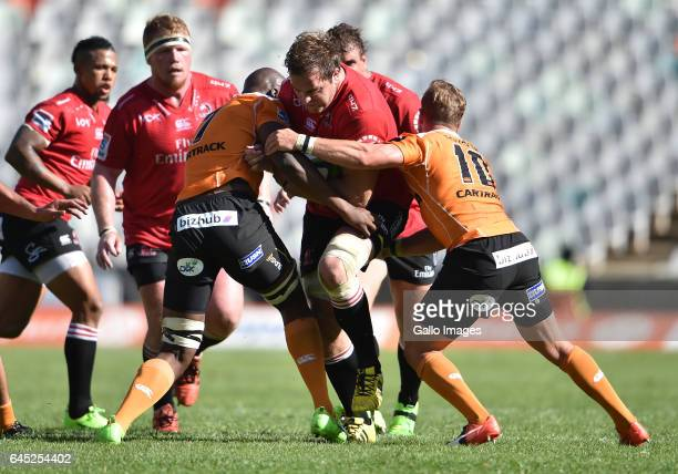 Andries Ferreira of the Lions during the Super Rugby match between Toyota Cheetahs and Emirates Lions at Toyota Stadium on February 25 2017 in...