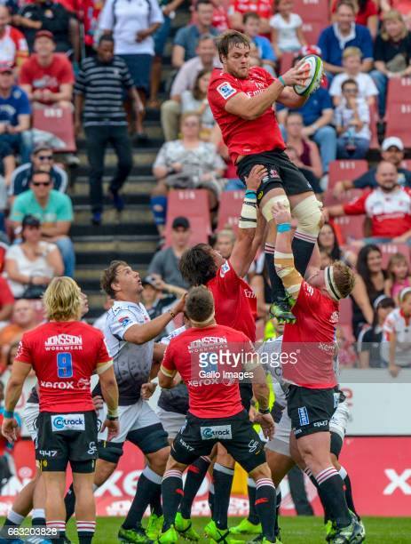 Andries Ferreira of the Lions wins possession during the Super Rugby match between Emirates Lions and Cell C Sharks at Emirates Airline Park on April...