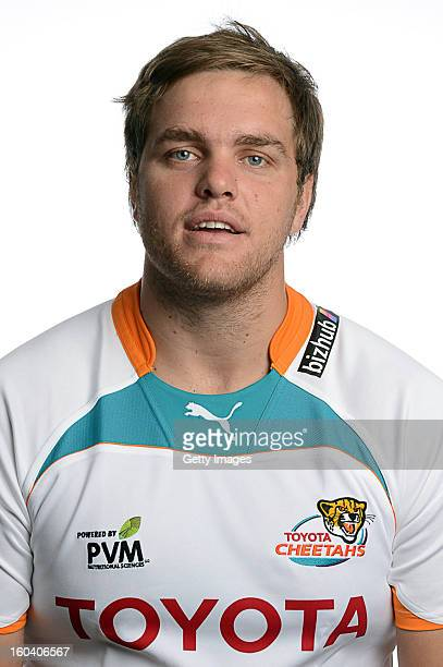 Andries Ferreira poses during the official 2013 Cheetahs Headshots session at Free State Stadium on January 17 2013 in Bloemfontein South Africa