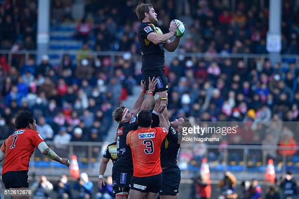 Andries Ferreira takes the ball in the lineout during the Super Rugby Rd 1 match between Sunwolves and Lions at Prince Chichibu Stadium on February...