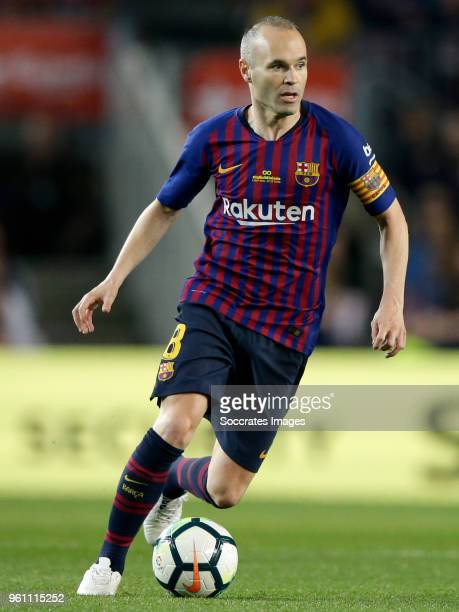 Andries Iniesta of FC Barcelona during the La Liga Santander match between FC Barcelona v Real Sociedad at the Camp Nou on May 20 2018 in Barcelona...
