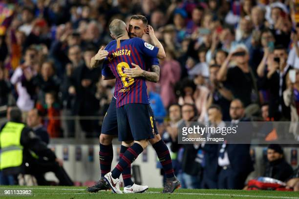 Andries Iniesta of FC Barcelona Paco Alcacer of FC Barcelona during the La Liga Santander match between FC Barcelona v Real Sociedad at the Camp Nou...