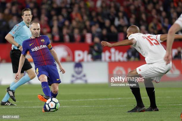 Andries Iniesta of FC Barcelona Steven NZonzi of Sevilla FC during the La Liga Santander match between Sevilla v FC Barcelona at the Estadio Ramon...