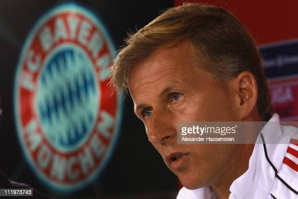 Andries Jonker head coach of Bayern Muenchen looks on during a press conference at Bayern's training ground 'Saebener Strasse' on April 11 2011 in...