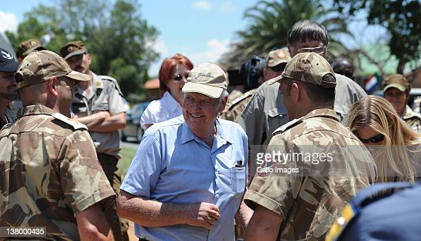 Andries Terre'blanche brother of the slain former AWB leader Eugene Terre'blanche arrives outside Ventersdorp Magistrates Court on January 30 2012 in...