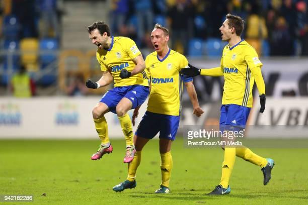 Andrii Bogdanov of Arka Gdynia celebrates scoring the goal with team mates during Lotto Ekstraklasa match between Arka Gdynia and Legia Warszawa on...