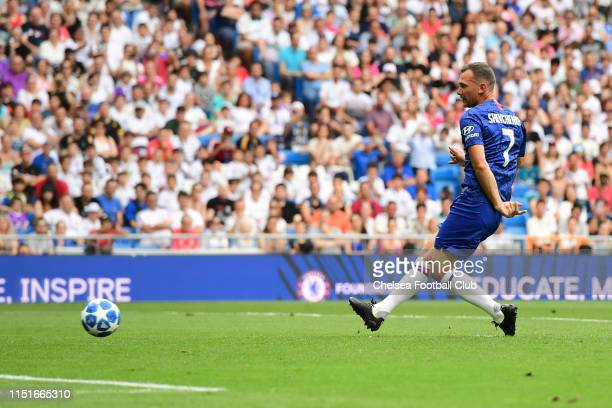 Andrii Shevchenko of Chelsea scores from the penalty spot during the at Real Madrid Legends v Chelsea Legends match held at the Estadio Santiago...