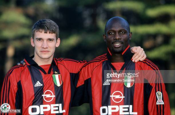 Andrij Ševčenko of AC Milan poses for photo with team mate George Weah during the Serie A 1999-2000, Italy.