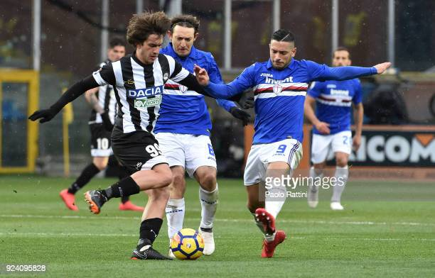Andrija Balic of Udinese opposed to Edgar Barreto and Gianluca Caprari of Sampdoria during the serie A match between UC Sampdoria and Udinese Calcio...