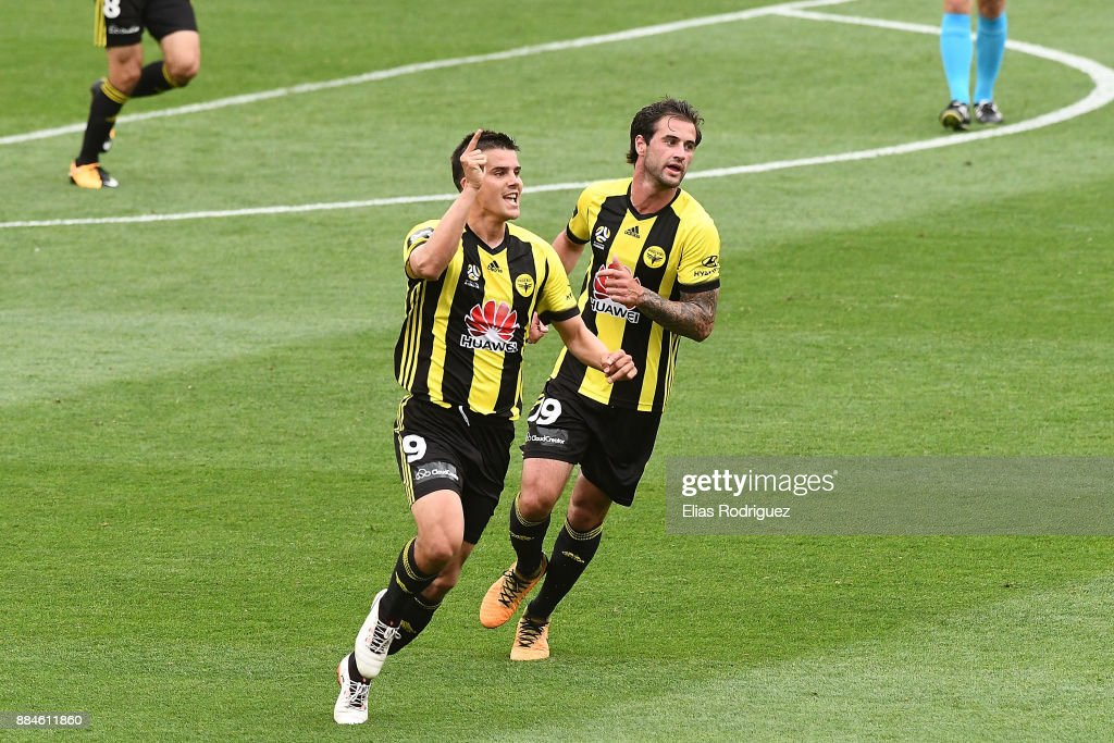 Andrija Kaluderovic of the Wellington Phoenix celebrates scoring a goal during the round nine A-League match between the Wellington Phoenix and the Melbourne Victory at Westpac Stadium on December 3, 2017 in Wellington, New Zealand.