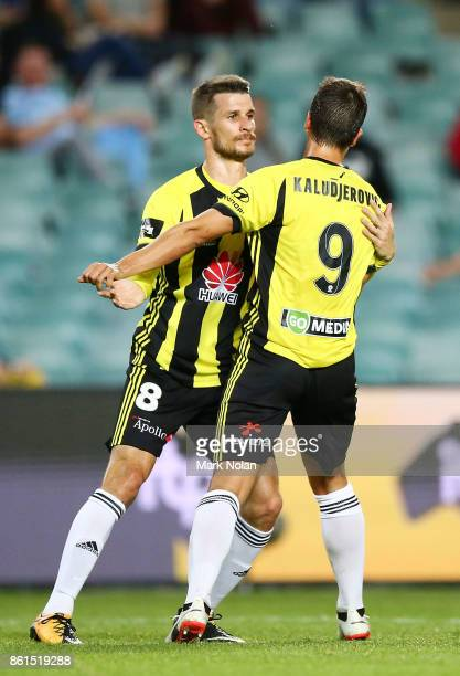 Andrija Kaluderovic of Wellington celebrates scoring a goal with team mate Dario Vidosic during the round two ALeague match between Sydney FC and the...