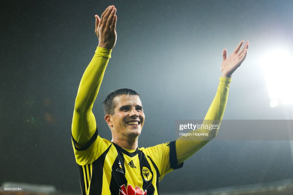 Andrija Kaludjerovic of the Phoenix acknowledges the crowd after winning the round 15 A-League match between the Wellington Phoenix and Melbourne Victory at Westpac Stadium on January 10, 2018 in Wellington, New Zealand.