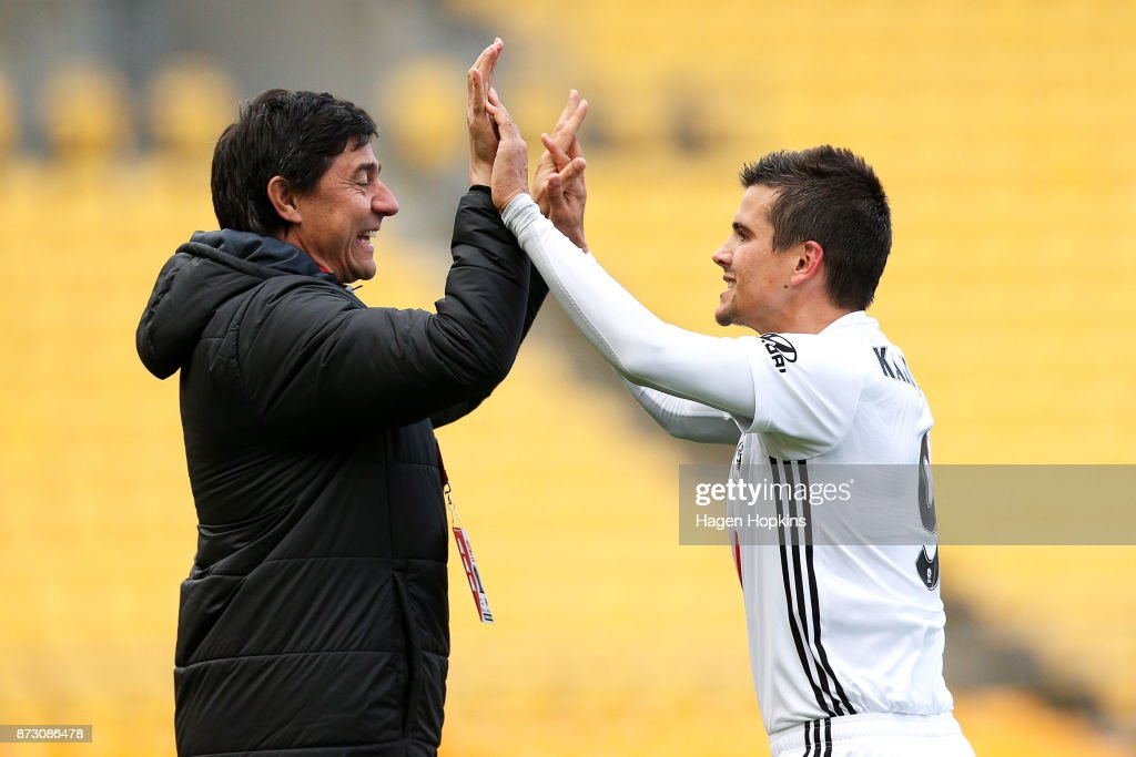 Andrija Kaludjerovic of the Phoenix celebrates with coach Darije Kalezic of the Phoenix after scoring a goal during the round six A-League match between the Wellington Phoenix and the Perth Glory at Westpac Stadium on November 12, 2017 in Wellington, New Zealand.