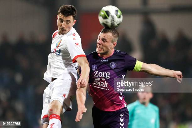 Andrija Novakovich of Telstar Robin Zwartjens of FC Utrecht U23 during the Dutch Jupiler League match between Telstar v Utrecht U23 at the Rabobank...