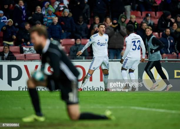 Andrija Pavlovic and Danny Amankwaa of FC Copenhagen celebrate after scoring their third goal during the Danish Alka Superliga match between FC...