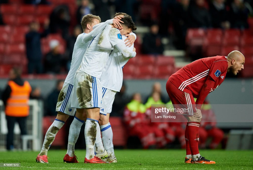 Andrija Pavlovic and Martin Pusic of FC Copenhagen celebrate after scoring their first goal during the Danish Alka Superliga match between FC Copenhagen and Lyngby BK at Telia Parken Stadium on November 26, 2017 in Copenhagen, Denmark.
