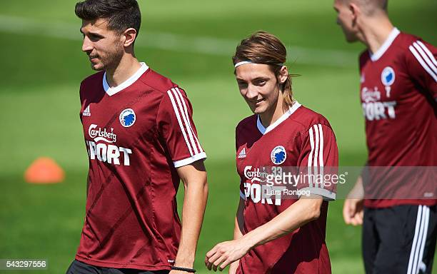 Andrija Pavlovic and Rasmus Falk of FC Copenhagen looks on during the FC Copenhagen training session at KB's baner on June 27 2016 in Frederiksberg...